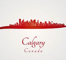 Calgary skyline in red by Pablo Romero