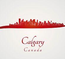 Calgary skyline in red by paulrommer
