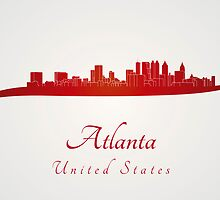 Atlanta skyline in red by Pablo Romero
