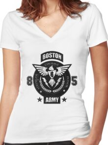 Boston Army Women's Fitted V-Neck T-Shirt