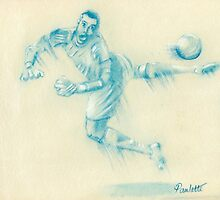 Goalkeeper drawing by Paulette Farrell