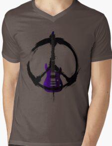 Peace Music Guitar Mens V-Neck T-Shirt