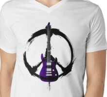 Peace Music Guitar Mens V-Neck T-Shirt