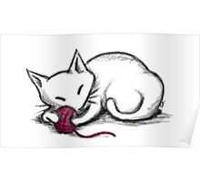 Yarn Kitty - white edition Poster