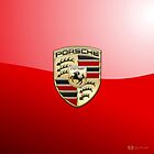 Porsche 3D Badge-Logo on Red by Captain7