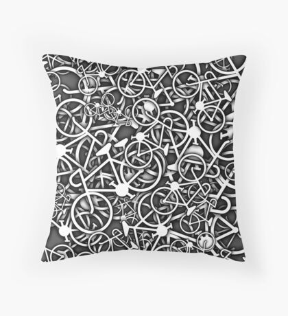 Tangled Up in Bikes 3 - Grey Throw Pillow