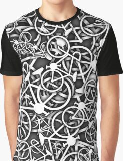 Tangled Up in Bikes 3 - Grey Graphic T-Shirt