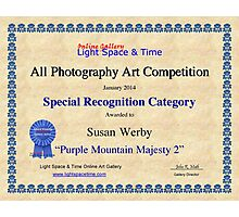 Special Recognition-All Photography- Purple Mountain Majesty Photographic Print