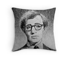 Woody Allen portrait Throw Pillow