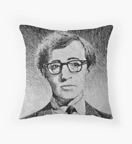 Woody Allen portrait Throw Pillow
