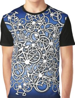 Tangled Up In Bicycles 2 - Blue Black fade Graphic T-Shirt