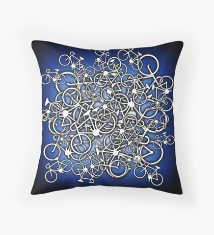 Tangled Up In Bicycles 2 - Blue Black fade Throw Pillow