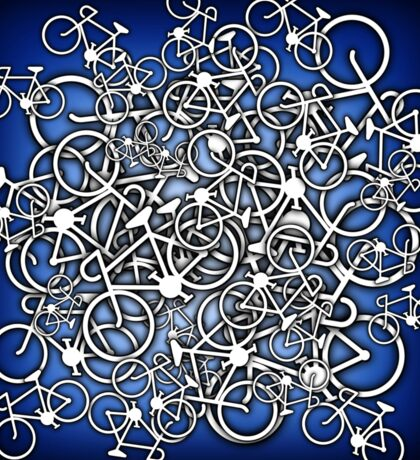 Tangled Up In Bicycles 2 - Blue Black fade Sticker
