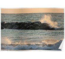 Crashing Waves at the Beach Poster