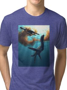 Krill feeding plesiosaurs Tri-blend T-Shirt
