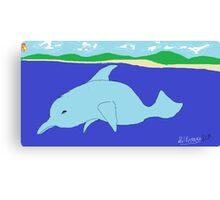 Dolphin(imaginary) -(050214)- Digital artwork/MS Paint Canvas Print