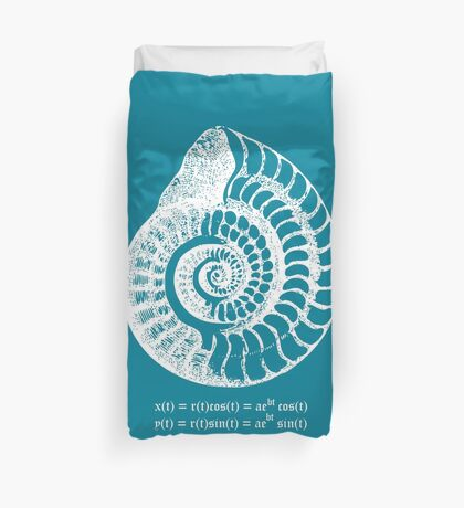 Spiral Shell with Math (blue) Duvet Cover