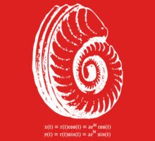 Spiral Shell with Math (white) Kids Tee