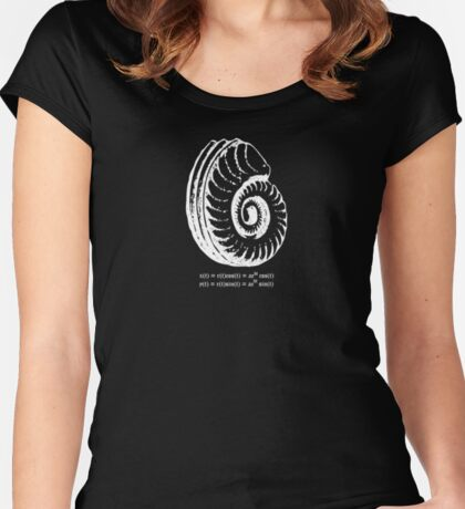 Spiral Shell with Math (white) Women's Fitted Scoop T-Shirt