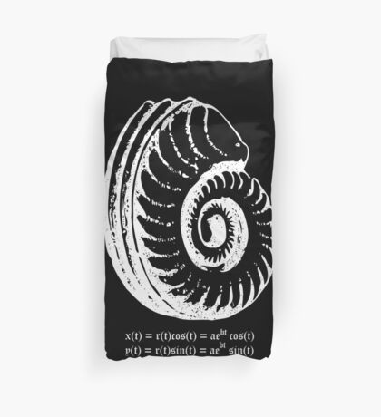 Spiral Shell with Math (white) Duvet Cover
