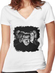 Classic Monsters Black & White POP! Women's Fitted V-Neck T-Shirt