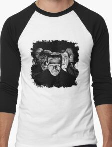 Classic Monsters Black & White POP! Men's Baseball ¾ T-Shirt