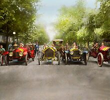 Car - Race - Hold on to your hats 1915 by Mike  Savad