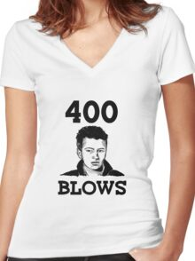 "Francois Truffaut's ""400 Blows Women's Fitted V-Neck T-Shirt"