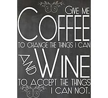 Coffee to Wine Chalkboard Art Photographic Print