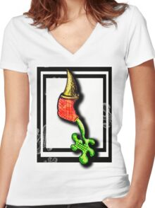 Weird Pen Drawing-Leaking Women's Fitted V-Neck T-Shirt
