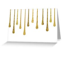 Gold Glitter Paint Drips Greeting Card