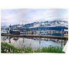 Fishing harbor Alaska Poster