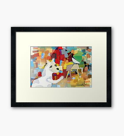 Bad Dog Cubism Framed Print