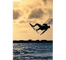 Silhouette of a kitesurfer flying Photographic Print