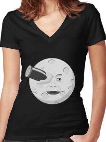 Georde Melies' A Trip to the Moon Women's Fitted V-Neck T-Shirt