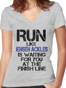 Run Like Jensen Ackles is Waiting Women's Fitted V-Neck T-Shirt