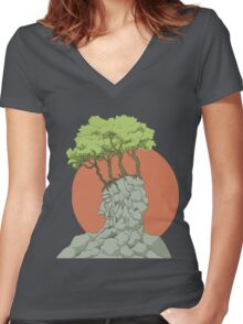 Old Man of the Mountain Women's Fitted V-Neck T-Shirt