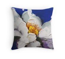 Peonia bianca su blu 1203 Throw Pillow