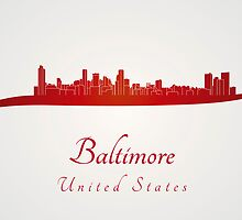 Baltimore skyline in red by paulrommer