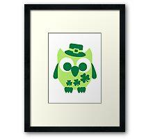 Cute irish shamrock owl Framed Print