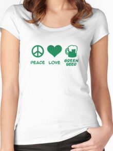 Peace love green beer Women's Fitted Scoop T-Shirt