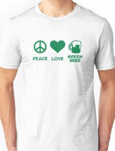 Peace love green beer Unisex T-Shirt