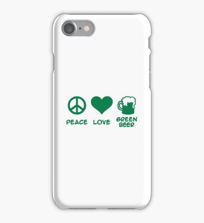 Peace love green beer iPhone Case/Skin