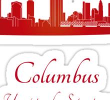 Columbus skyline in red Sticker