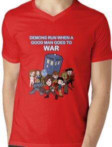 Demons Run When A Good Man Goes to War Mens V-Neck T-Shirt