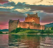 Eilean Donan Sunset Watercolour Effect by Chris Thaxter