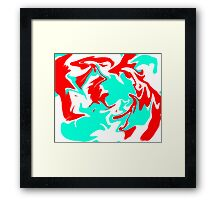 Teal and Red Swirl Framed Print