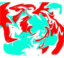 Teal and Red Swirl Photographic Print