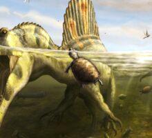 Spinosaurus & Fish by Brian engh Sticker