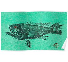 Black Sea Bass on Aegean Green Unryu Paper Poster